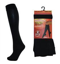 Ladies 2 Pack Black Thermal Knee High Socks, Soft Brushed Inner, 140 Denier, 4-7