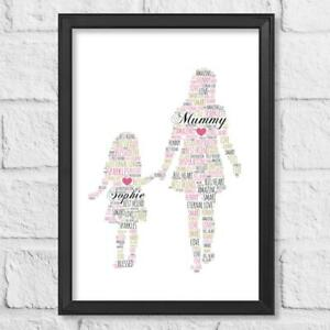 Personalised Mothers Day Present Word Art Gift Print Mum with Daughter