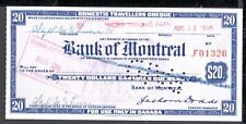 ABN/Canadian BNC 'Bank of Montreal' $20 Domestic Travellers Cheque Intaglio 1935
