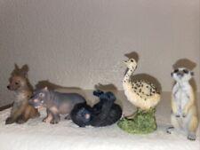 5 African Wild Animal Figurines Helena , Hippo , Baby ape , ostrich , Meerkat