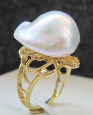 E8237 - 20mm white baroque keshi reborn Nucleated freshwater pearl ring - 925 SS
