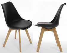 2x Tulip Dining Kitchen Office Chair (Pair) Wooden Oak Furniture in Black
