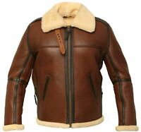 Men's B6 Bomber Real Shearling Distressed Sheepskin Flight Aviator Winter Jacket
