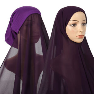 Women 1PC Chiffon Hijab Scarf Veil Instant Hijab Muslim Ladies  Hijab Cap Scarf