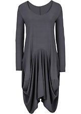 Shirtkleid Gr. 36 Grau Damenkleid Freizeit-Kleid Oversized-Look Neu