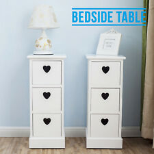 Elegant Pair of White Bedside Cabinets Heart Cutout Chest 3 Drawers Side Table