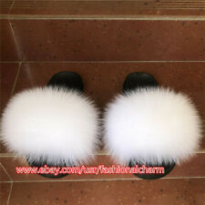 White- Women's Slides Real Fox Fur Slippers Summer Sandals Beach Holiday Shoes