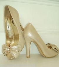 Tamaño 2 - 2.5 EU 35 Suave Oro Brillo Diamante Zapatos De Novia Ocasión Champagne BN