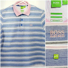 Hugo Boss Green Label Mens XL Polo Shirt Pink Blue White Black Striped