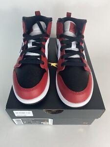 Air Jordan 1 MID (PS) CHICAGO BLACK TOE Black/Black-Gym Red 640734-069 Size 2Y