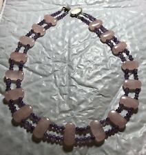 """PINK ROSE QUARTZ & PURPLE AMETHYST BEAD NECKLACE 18"""" STERLING SILVER NEW"""