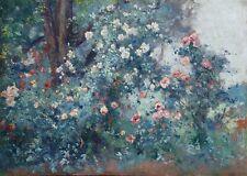EUGENE DESHAYES (1868-1939) FRENCH IMPRESSIONIST OIL ON PANEL - WILD ROSES