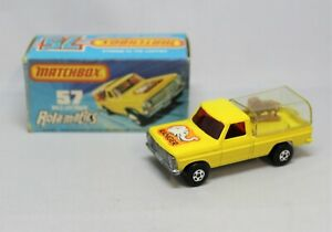 """Matchbox Lesney Superfast No57 WILDLIFE TRUCK with CLEAR REAR COVER & TAN LION """""""