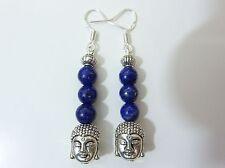 Boucles d'oreilles Bouddha Lapis lazuli monture argent 925