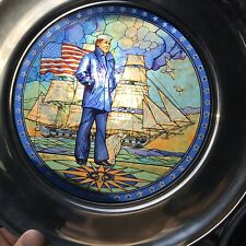 """Us Historical Society Stained Glass & Pewter """"The Lone Sailor"""" Plate"""