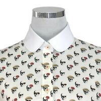 Women Top Skull print Peaky Blinders party Penny Collar Shirt Blouse Club Round