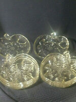 VINTAGE (8) CLEAR GLASS APPLE SHAPED PLATES HAZEL ATLAS 1950'S