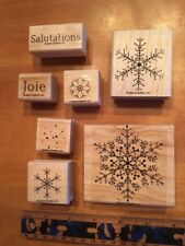 Stampin' UP Rubber Stamps Set Lot #5 French Francais Snow Flakes