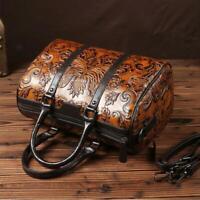 Women Brown Handbag Elegant Vintage Genuine Cow Leather Shoulder Bag Embossed sz