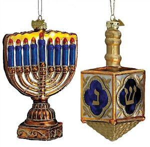 "Noble Gems SET of 2 MENORAH & DREIDEL ornaments 4.5"" Happy Hanukkah Kurt Adler"