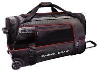"Pacific Gear Drop Zone Black 30"" Large Drop Bottom Wheeled Duffel Bag Roller"