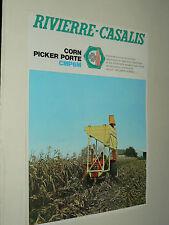 Prospectus CORN PICKER RIVIERRE CASALIS Ensileuse   Tracteur Tractor Prospekt