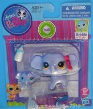 Littlest Pet Shop LPS Bobble Purple Mommy Elephant & Baby Set #3597 & #3598 New