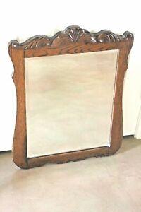 "Antique Victorian Farmhouse Oak Dark Wood Curved Beveled Wall Mirror 20.5""X 26""h"