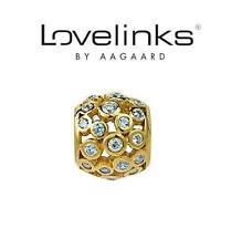 Original Lovelinks plata esterlina 925 GP Círculo Sparkle corona joyas encanto grano