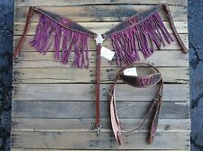 WESTERN HEADSTALL BREAST COLLAR PINK FRINGE BARREL HORSE LEATHER BRIDLE TACK SET