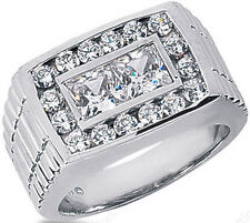 14k White Gold Ring Band F-G Vs/Si1 1.50 ct Round & Princess cut Diamond Mens