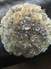BRIDES BOUQUET BROOCH IVORY CREAM ROSE DIAMANTE WEDDING FLOWERS
