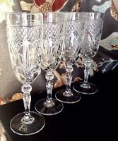Set Of 4 Cris D'Arques Durand ANTIQUE Clear Cut Glass Champagne Flutes Glasses