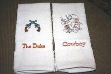 Cowboy & Gun Design  -2 Cream Hand towel Set brown thread embroidered