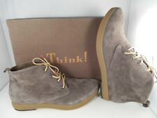 Think! Umadum Taupe Kred/Velvet Goat Suede Ankle Boots Women's Size 8 US NIB