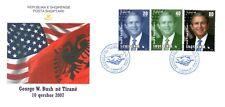 Albania Stamps 2007. USA President George W. Bush in Tirana. FDC Set MNH. RARE