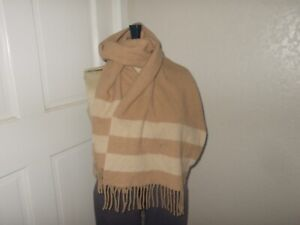 Polo Ralph Lauren Tan Beige Striped Fringe Wool Blend Scarf Made in Italy