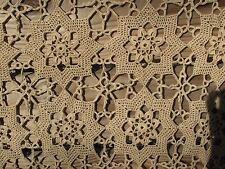Vintage Ecru Stars Crochet Bedspread Throw Queen Full Twin 83x90 tablecloth tan