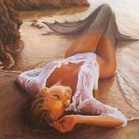 CHOP334 high quality hand-painted seaside THE MERMAID oil painting on canvas