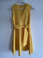 YELLOW SHORT SLEEVELESS DRESS ZARA EUR S PRETTY PARTY SUMMER FLOATY CHIC GLAM