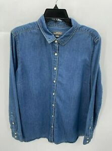 Eddie Bauer Mens XL Top Blue Denim Long Sleeve Button Up