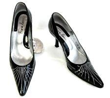 FREE LANCE Zapatos tacones 8 cm todo charol negro - plata 37 MUY BUEN ESTADO