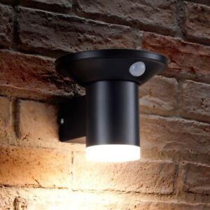 Auraglow Solar PIR Dusk to Dawn Sensor Black Cylinder Outdoor Security LED Light