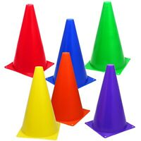 "6 Mixed-Color 9"" Cones Training Track Field Soccer Football Agility Traffic"