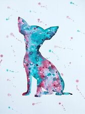 Original Contemporary Chihuahua Dog Watercolour Painting Room Wall Decor