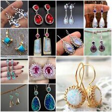 925 Silver Fashion Women Jewelry Ruby Moonstone Ear Hook Dangle Drop Earrings
