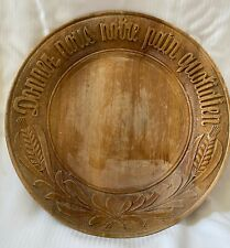 Antique Hand-Carved French Walnut Bread Plate Board Give us this Day ~ French