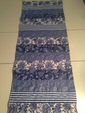 Handmade Blue and White Victorian Style  Quilted Table Runner/Scarf 16 x 47 ins