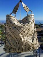 Isabella Fiore Stud Muffin Carina X-Large Cream Tan Shoulder Handbag, Hobo