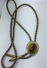 Bolo Tie Brown Beige White Leather Large Tiger Eye Stone Goldtone